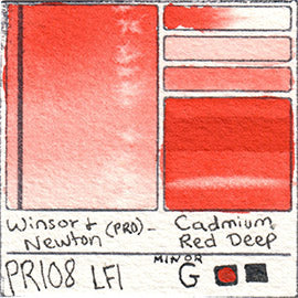 PR108 Winsor and Newton Professional Cadmium Red Deep Watercolor Swatch Card Color Chart
