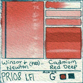 PR108 Winsor and Newton Professional Cadmium Red Deep Watercolor Swatch Card