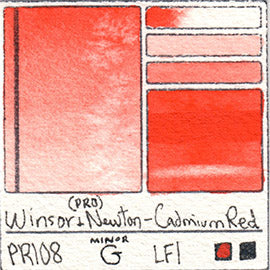 PR108 Winsor and Newton Professional Cadmium Red Watercolor Swatch Card Color Chart