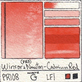 PR108 Winsor and Newton Professional Cadmium Red Watercolor Swatch Card