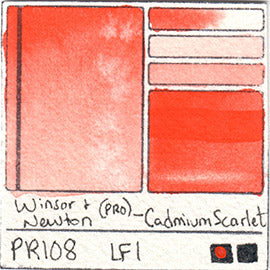 PR108 Winsor and Newton Professional Cadmium Scarlet Watercolor Swatch Card Color Chart