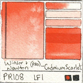 PR108 Winsor and Newton Professional Cadmium Scarlet Watercolor Swatch Card