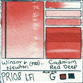 PR108 Winsor and Newton Watercolor Cadmium Red Deep Professional Pigment Database