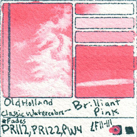 PR112 PR122 PW4 Old Holland Classic Watercolors Brilliant Pink pigment swatch rare mineral paint art professional