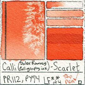 PR112 PY74 Calli Daler Rowney CALLIGRAPHY INK Scarlet pigment dip pen swatch card color colour database