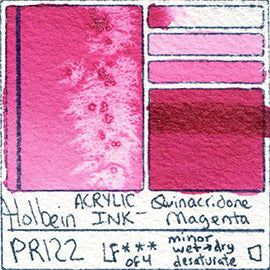 PR122 Holbein ACRYLIC INK Quinacridone Magenta pigment swatch card color colour database