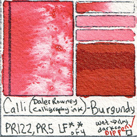 PR122 PR5 Calli Daler Rowney CALLIGRAPHY INK Burgundy pigment dip pen swatch card color colour database
