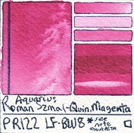 PR122 Pigment Roman Szmal Quin Magenta Primary Mixing Color Aquarius Watercolor Swatch