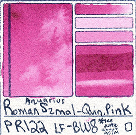 PR122 Roman Szmal Quin Pink Aquarius Watercolor Professional Poland Swatch Color Chart