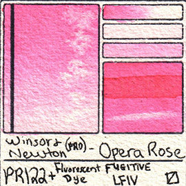 PR122 Winsor and Newton Watercolor Professional Opera Rose Neon Pink Fugitive Fluorescent Dye Swatch Card