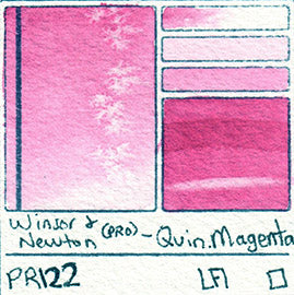 PR122 Winsor and Newton Watercolor Professional Quinacridone Magenta Swatch Card Color Chart