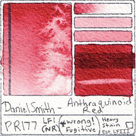 PR177 Daniel Smith Anthraquinoid Red water color pigment database swatch test card light fast