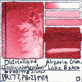 PR177 PBr23 PV19 Old Holland Classic Watercolors Alizarin Crimson Lake Extra pigment swatch rare mineral paint art professional