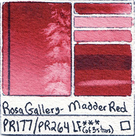 PR177 PR264 Rosa Gallery Watercolor Madder Red Handprint Art Pigment Swatch Color Chart