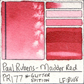 PR177 Paul Rubens Hint of Glitter Pan Set Watercolor Madder Red Swatch Card Color Chart