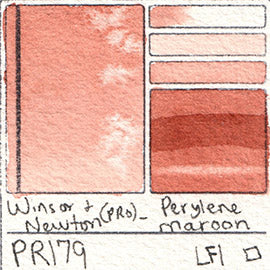 PR179 Winsor and Newton Professional Perylene Maroon Watercolor Swatch Card Color Chart