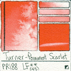 PR188 Turner Watercolor Permanent Scarlet Color Art Pigment Database Swatch Card