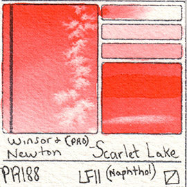 PR188 Winsor and Newton Professional Scarlet Lake Watercolor Swatch Card Color Chart