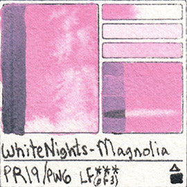 PR19 PW6 WHITE NIGHTS WATERCOLOR MAGNOLIA NEW PASTEL SWATCH CARD