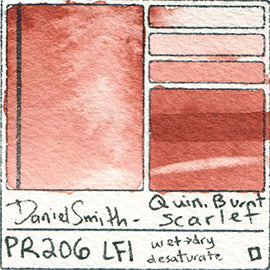 PR206 Daniel Smith Watercolor Quinacridone Burnt Scarlet swatch pigment granulating vibrant