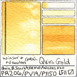PR206 PV19 PY150 Winsor and Newton Professional Quinacridone Gold Watercolor Swatch Card Color Chart