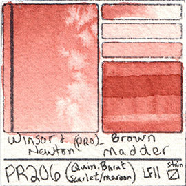 PR206 Winsor and Newton Professional Brown Madder Watercolor Swatch Card Color Chart