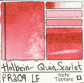 PR209 Holbein Quin Scarlet Watercolor Professional Japan Swatch Color Chart