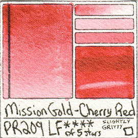 PR209 Mission Gold Cherry Red Watercolor Lightfast Pigment List Database