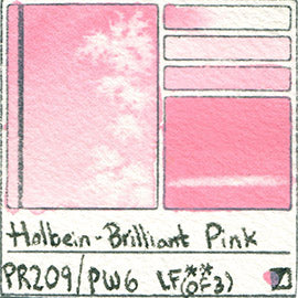 PR209 PW6 Holbein Watercolor Brilliant Pink Pigment Database Color Chart