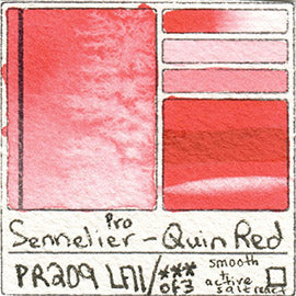 PR209 Sennelier Quinacridone Red Watercolor Lightfast Pigment List Database