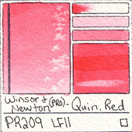 PR209 Winsor and Newton Professional Watercolor Quinacridone Red Color Chart Swatch Card