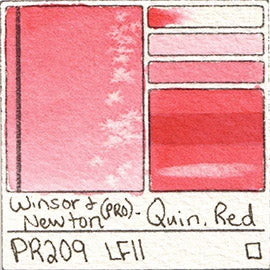 PR209 winsor and newton watercolor quin red quinacridone cherry coral pigment swatch