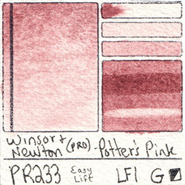 PR233 Winsor and Newton Professional Potter's Pink Watercolor Swatch Card Color Chart