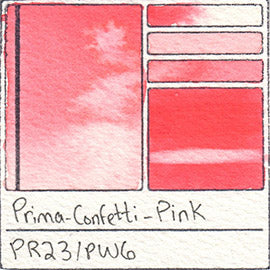 PR23 PW6 Prima Art Philosophy Confetti Pink Watercolor Swatch Card