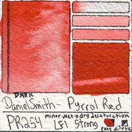 PR254 Daniel Smith Watercolor Pyrrol Red Watercolour swatch color chart card pigment