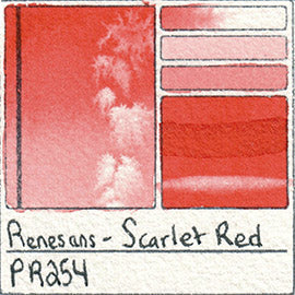 PR254 Renesans Watercolor Scarlet Red Color Chart Poland Etsy Alittlecreativeme