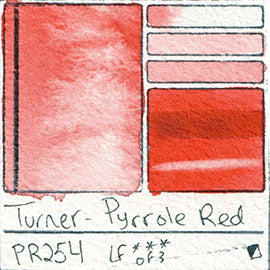 PR254 Turner Watercolor Pyrrole Red Color Art Pigment Database Swatch Card