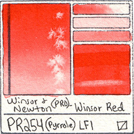 PR254 Winsor and Newton Professional Watercolor Winsor Red Color Chart Swatch Card