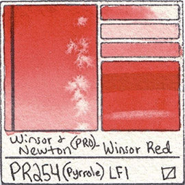 PR254 Winsor and Newton Professional Winsor Red Watercolor Swatch Card