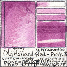 PR259 Old Holland Classic Watercolor Ultramarine Red Pink pigment swatch database card color separation swatch