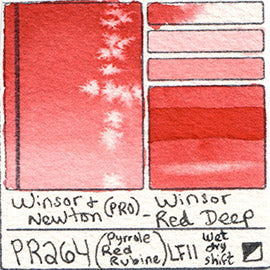 PR264 Winsor and Newton Professional Watercolor Winsor Red Deep Color Chart Swatch Card