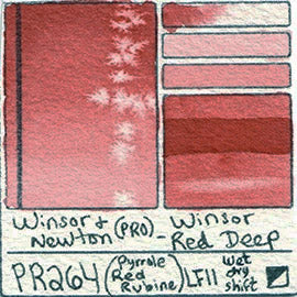 PR264 Winsor and Newton Professional Winsor Red Deep Watercolor Swatch Card