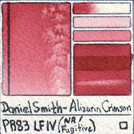 PR83 Daniel Smith Alizarin Crimson Fugitive Pigment Rose Red UV Lightfast Test Fading Art