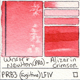PR83 Winsor and Newton Professional Watercolor Alizarin Crimson Color Chart Swatch Card