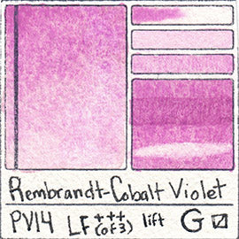 PV14 Rembrandt Watercolor Cobalt Violet Granulating Pink Purple Swatch Card Painting