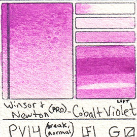 PV14 Winsor and Newton Watercolor Professional Cobalt Violet Swatch Card Color Chart