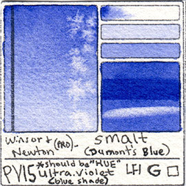 PV15 Winsor and Newton Professional Smalt Watercolor Swatch Card Color Chart