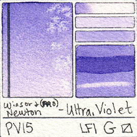 PV15 Winsor and Newton Watercolor Professional Ultramarine Violet Swatch Card Color Chart