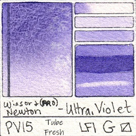 winsor and newton pv15 ultramarine violet watercolor purple granulating pigment database