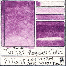 PV16 Turner Watercolor Manganese Violet Color Pigment Database Swatch Card